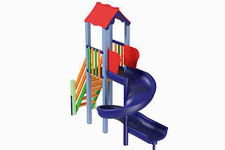 Детский комплекс Мини с пластиковой горкой Спираль Kidigo