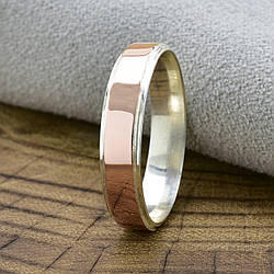Серебряное кольцо с золотом Мира вес 2.4 г размер 23