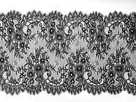 Ажурное французское кружево шантильи (с ресничками) черного цвета шириной 38 см, длина купона 3,0 м.