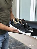 Мужские кожаные кроссовки Ecco,черные