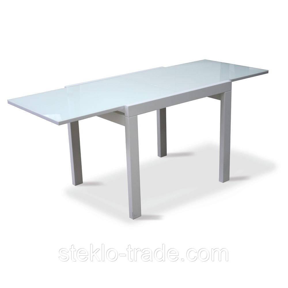 """Стол кухонный, обеденный, стеклянный, раскладной """"ДОМИНО белый-белый"""""""