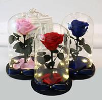 Роза в колбе с LED  подсветкой МАЛЕНЬКАЯ СИНЯЯ