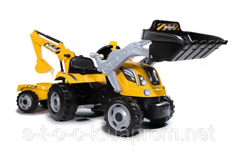 """Педальный трактор Smoby """"Builder MAX"""" и двумя ковшами"""