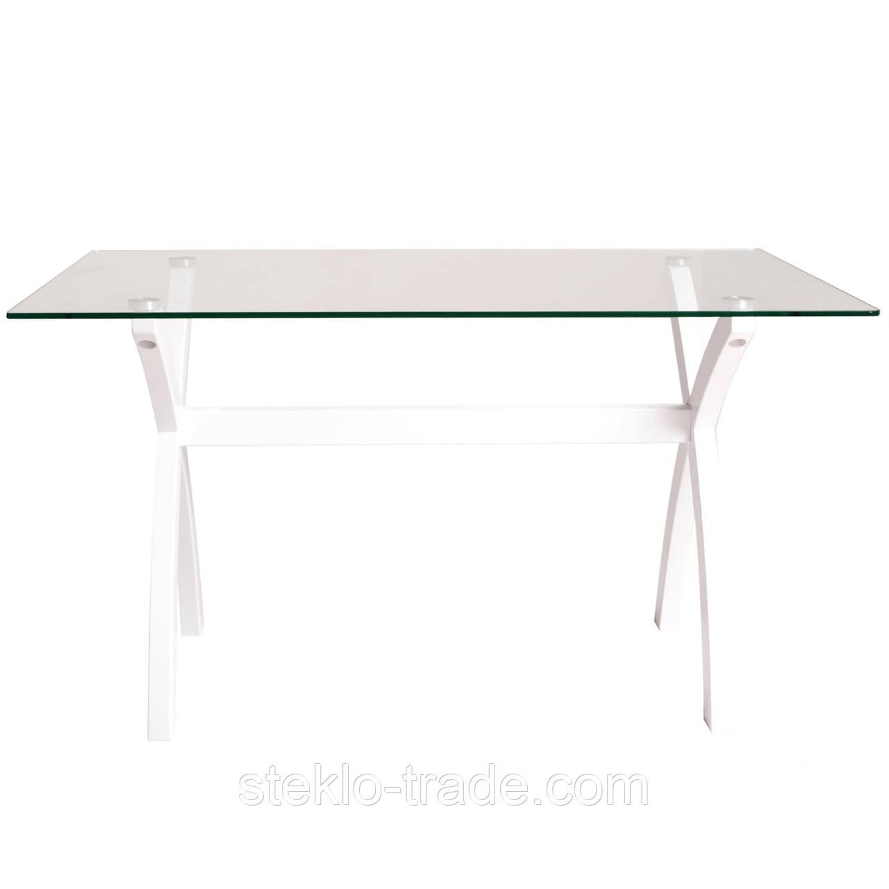 """Стол кухонный, гостиный, стеклянный """"Х-фактор 2 белый прозрачный"""""""