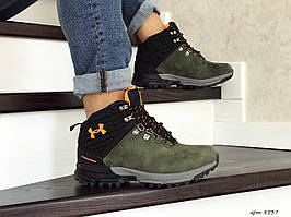 Мужские зимние кроссовки Under Armour,замшевые,на меху,темно зеленые  41р.