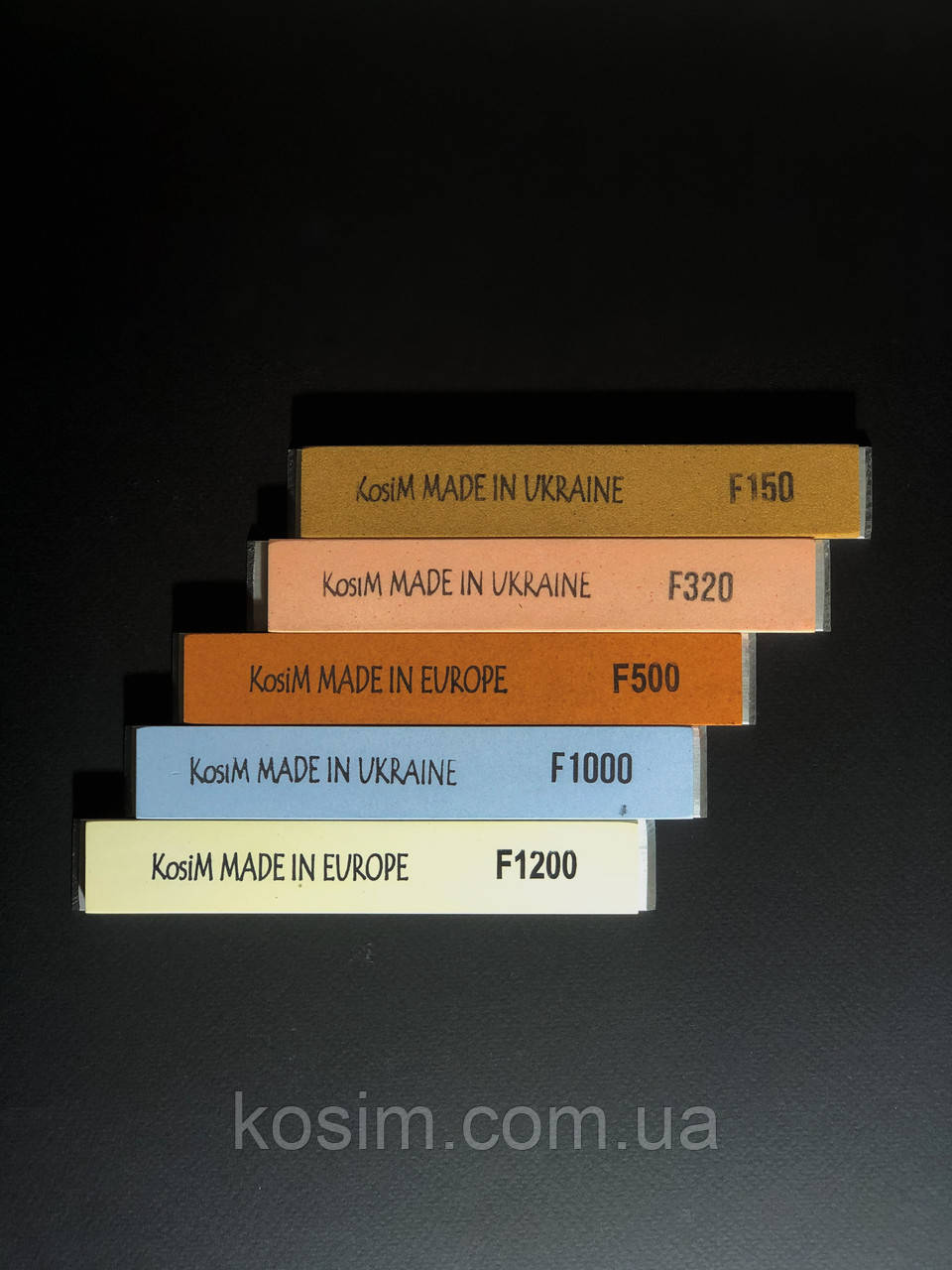 Масляные точильные бруски KosiM 25 А F150/320/500/1000/1200 6 мм.Набор 5 шт.Приклеены на бланк