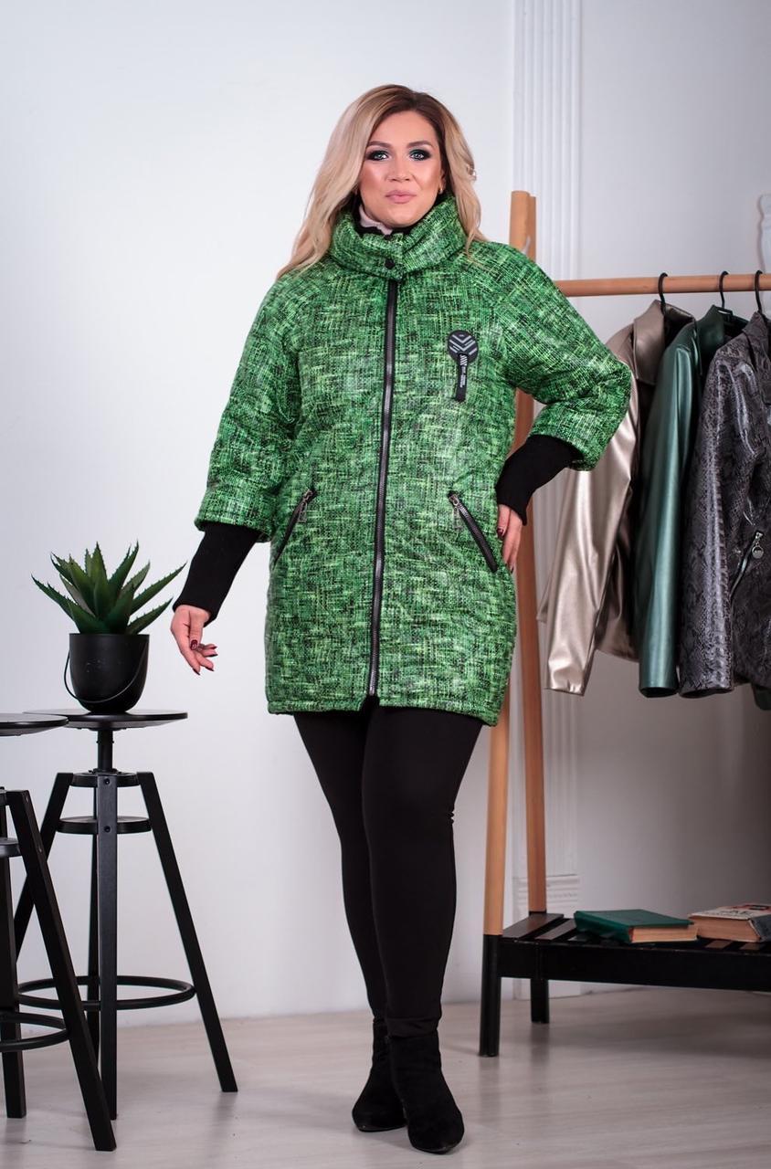 Женская демисезонная куртка больших размеров  с воротником-стойкой зеленая р. 52-66