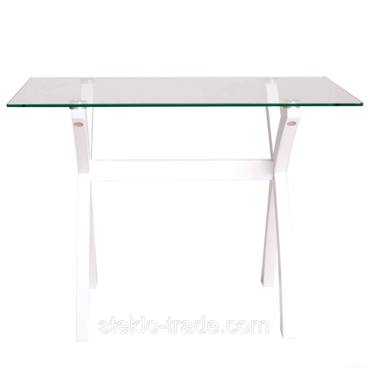 """Стол кухонный, гостиный, стеклянный """"Х-фактор белый прозрачный"""""""