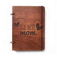 """Блокнот А5 из дерева """"The best mom"""""""