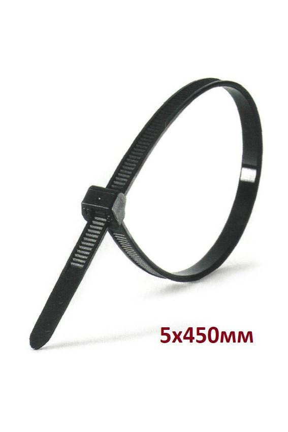 Кабельная стяжка 5х450 мм Черная - Хомут нейлоновый