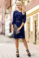 Элегантное платье осеннее с рукавом три четверти, трикотажное, большие размеры, красное, фото 1