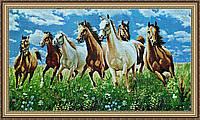 Гобеленова Картина Коні 300х600мм. (в багетній рамці) №G343