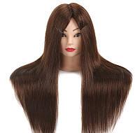 Голова для причесок с искусственными термо волосами коричневые MT Brown