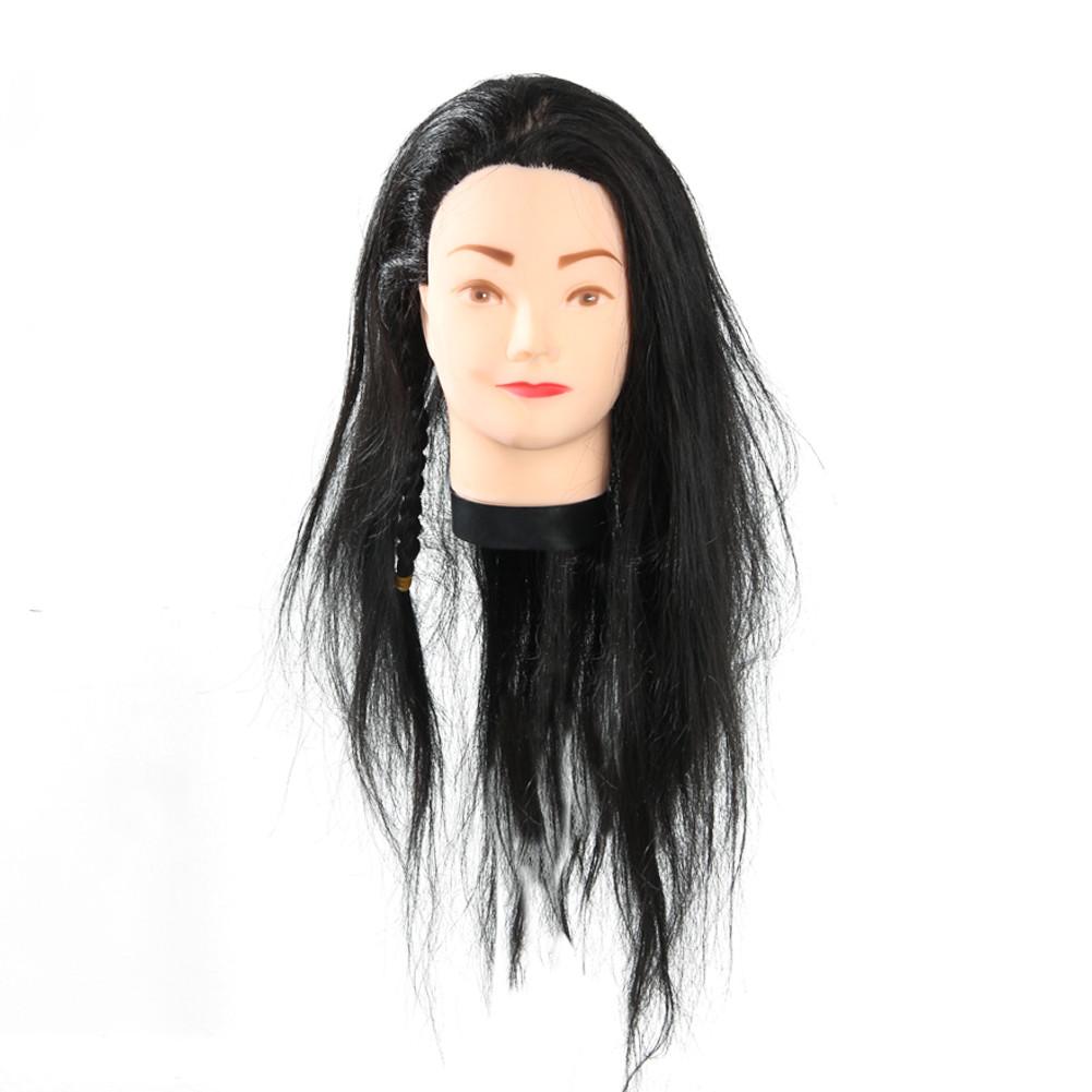 Голова для причесок с искусственными черными волосами