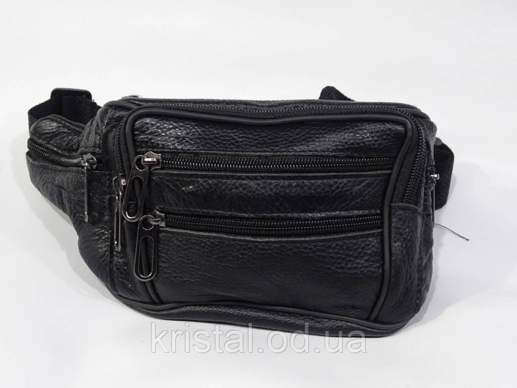 """Мужская кожаная сумка-бананка 20*13 см. серии """"Gold """"№9982"""