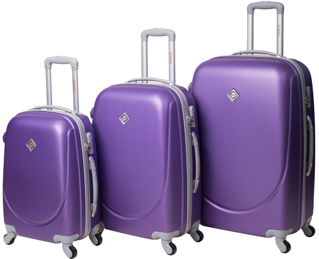 Набор чемоданов Bonro Smile 3 штуки фиолетовый (10050309)