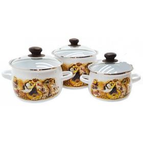 Набір емальованого посуду Idilia Франсуа 3 предмета 2,5 л/3,5 л/5л (№654)