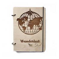 """Блокнот А5 из дерева """"Wanderlust"""""""