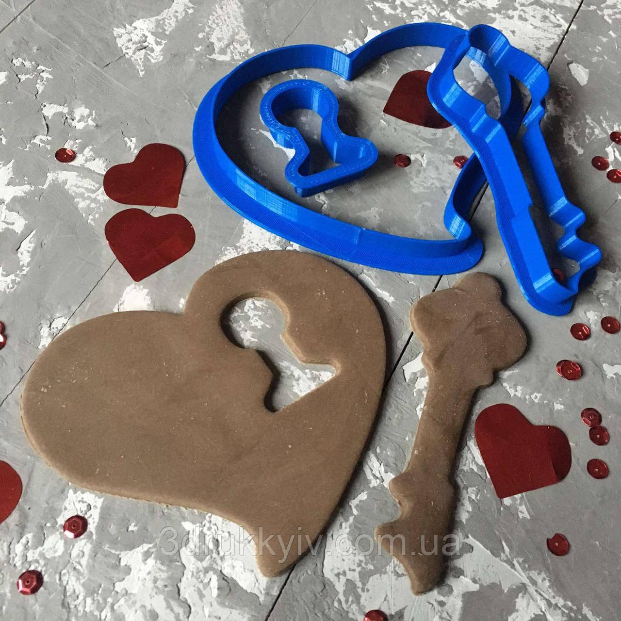 """Вирубки """"Серце і ключик"""" / Вырубка - формочка для пряников """"Сердце и ключик"""""""