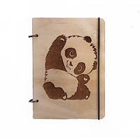 """Блокнот А5 из дерева """"Панда"""""""