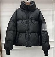 Куртка-пуховик женская черная молодежная теплая металлик, оверсайз  S\M