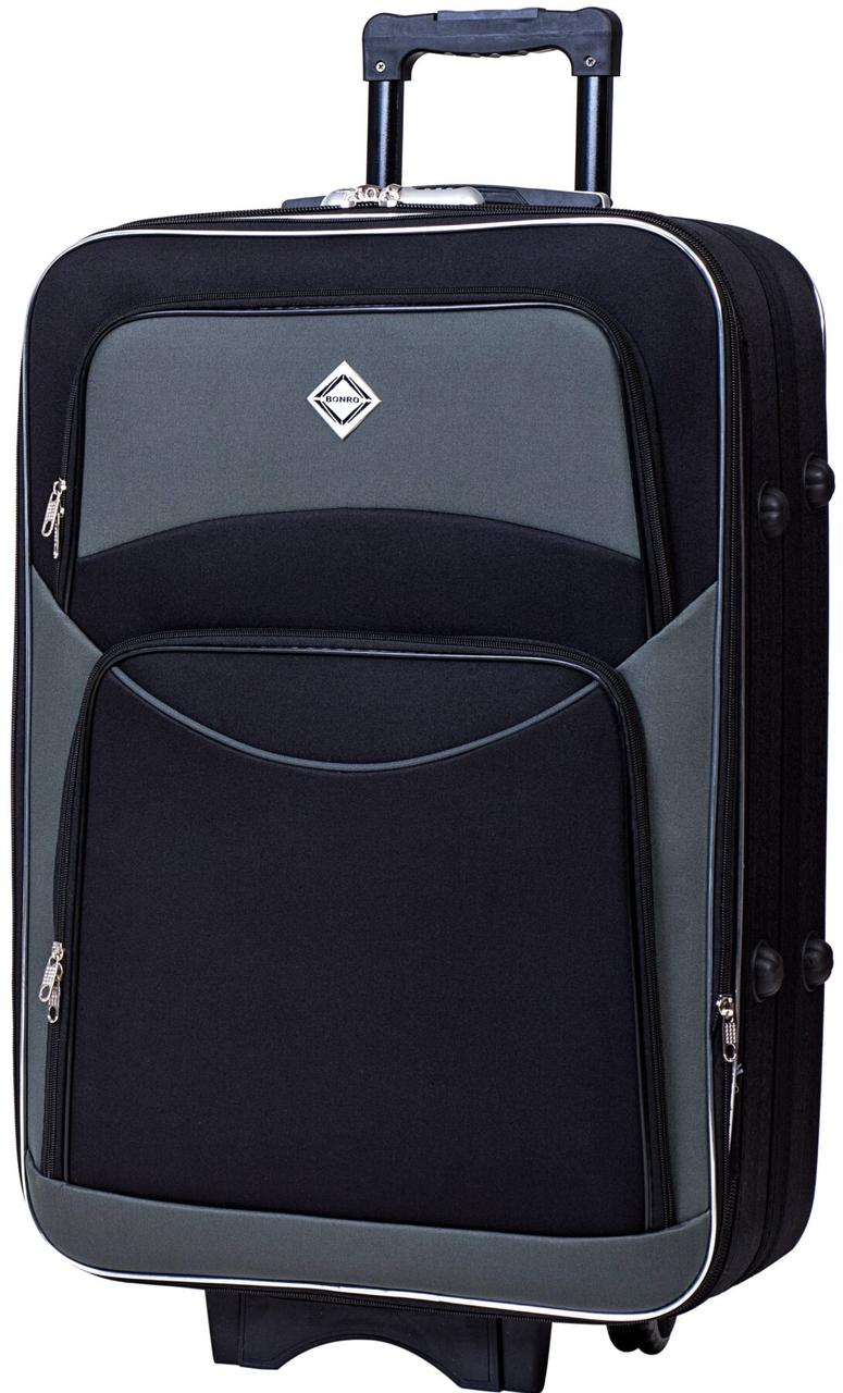 Валіза Bonro Style велика чорно-сіра (10012705)