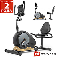 Горизонтальний велотренажер Hop-Sport HS-040L Root чорно-золотистий