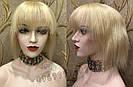 Парик из натуральных волос каре на сетке с чёлкой, блонд, женский, фото 3