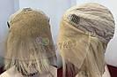 Парик из натуральных волос каре на сетке с чёлкой, блонд, женский, фото 6