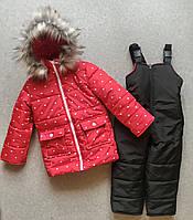 Детский зимний комбинезон на девочку красного цвета в сердечко на 2-4 года