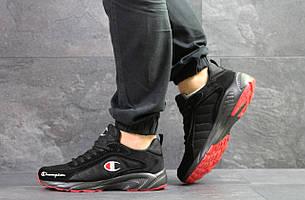 Кроссовки мужские, замшевые,Champion,черные с красным