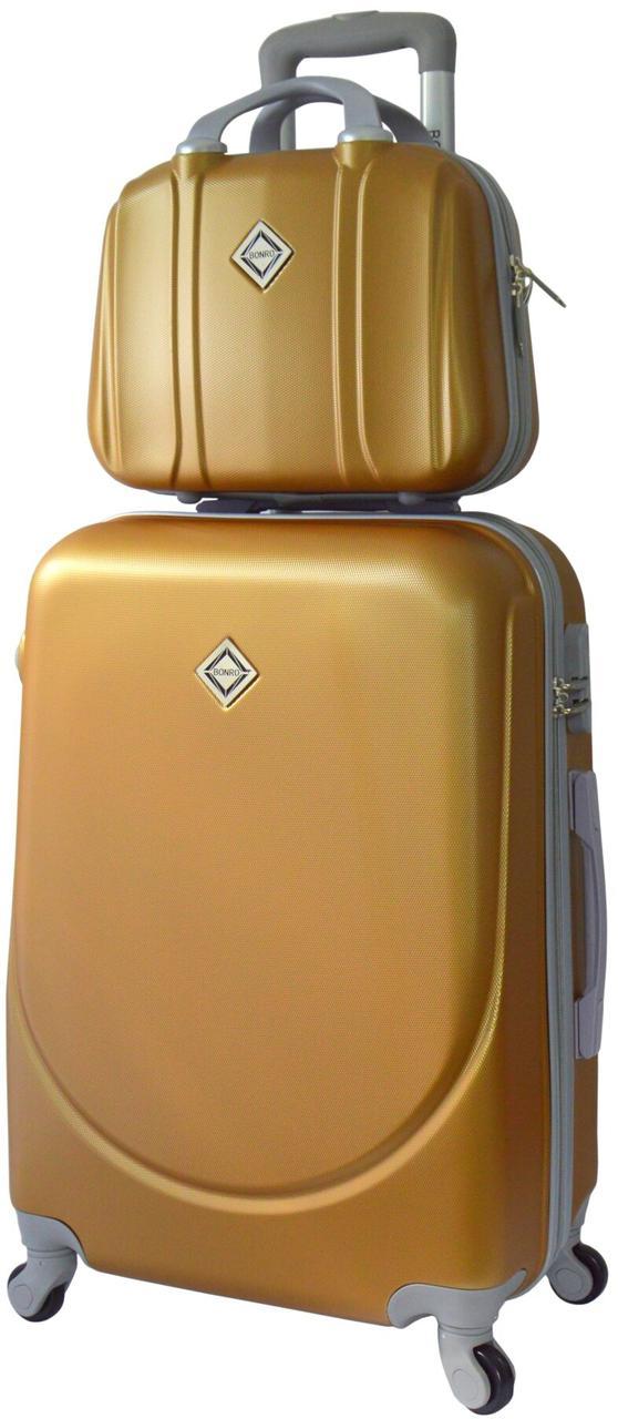 Комплект чемодан и кейс Bonro Smile средний золотой (10110208)
