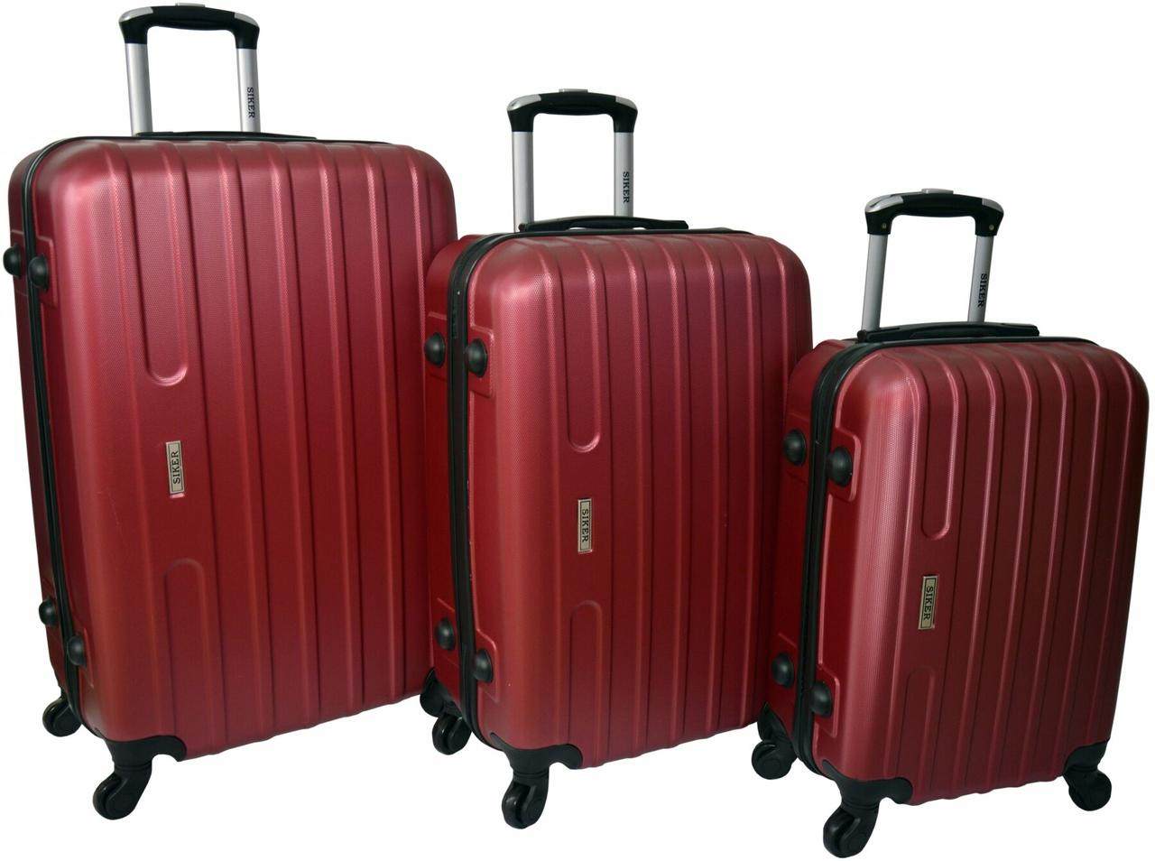 Набір валіз Siker Line 3 штуки бордовий (10140307)