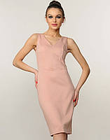 Женское пудровое платье-футляр без рукавов (Лори ri)