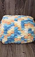 Детский плюшевый плед покрывало цветной 90*100 см в коляску, кроватку или на выписку ручная работа