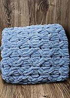 Детский плюшевый плед покрывало джинс 90*110 см в коляску, кроватку или на выписку ручная работа
