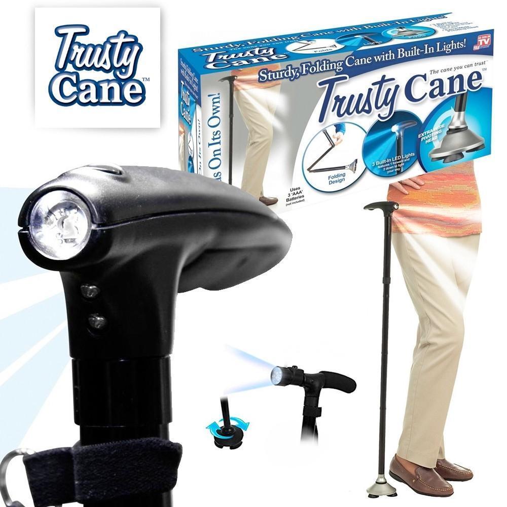 Складная трость для ходьбы с фонариком Trusty Cane (Реплика)