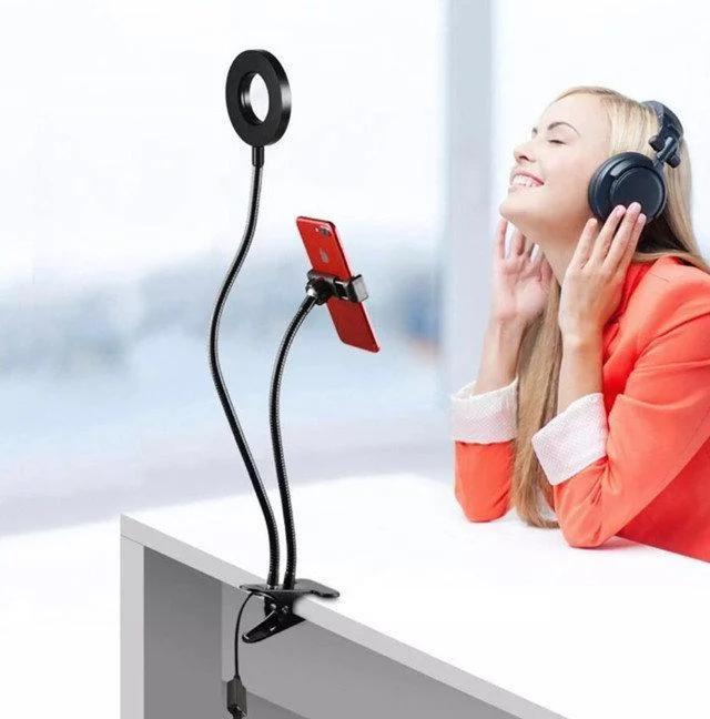 Держатель для телефона на прищепке с подсветкой для селфи Professional Live Stream