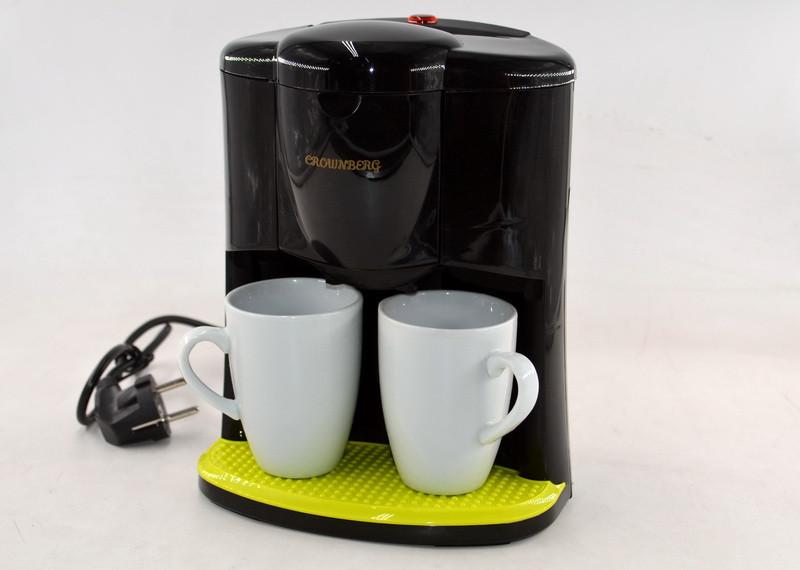 Капельная кофеварка Crownberg CB-1560 Черная (600 Вт) + 2 чашки