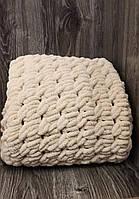 Детский плюшевый плед покрывало бежевое 85*100 см в коляску, кроватку или на выписку ручная работа, фото 1