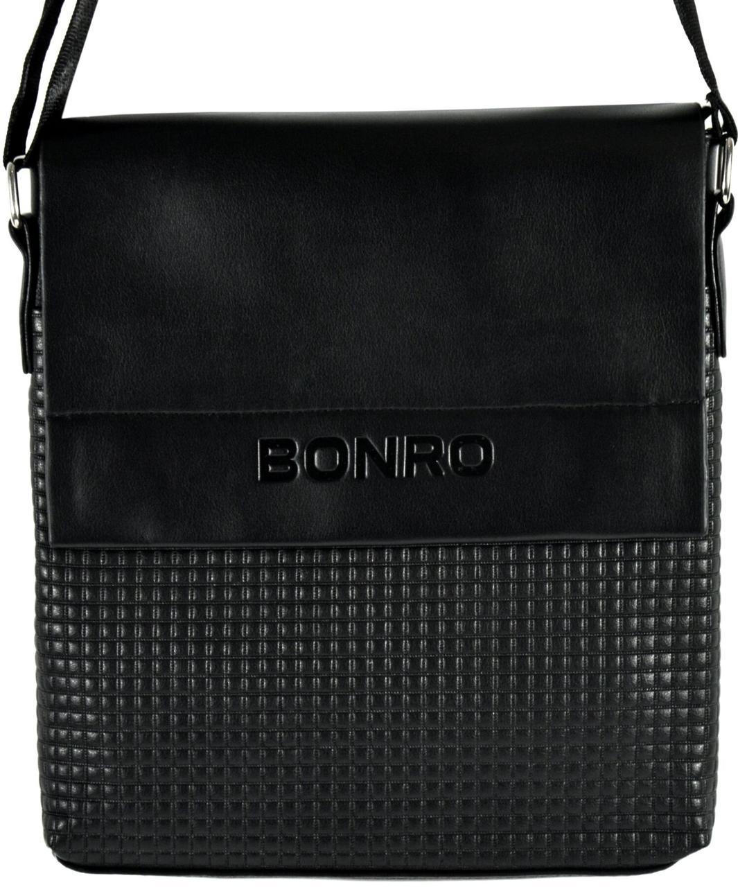 Сумка чоловіча Bonro через плече чорна Model 3 (14000002)