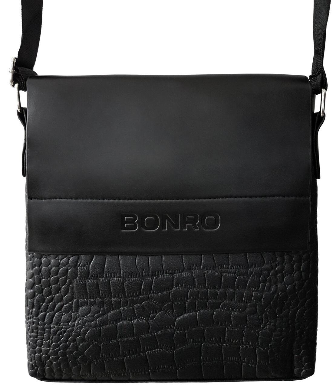 Сумка мужская Bonro через плечо черная Model 5 (14000004)