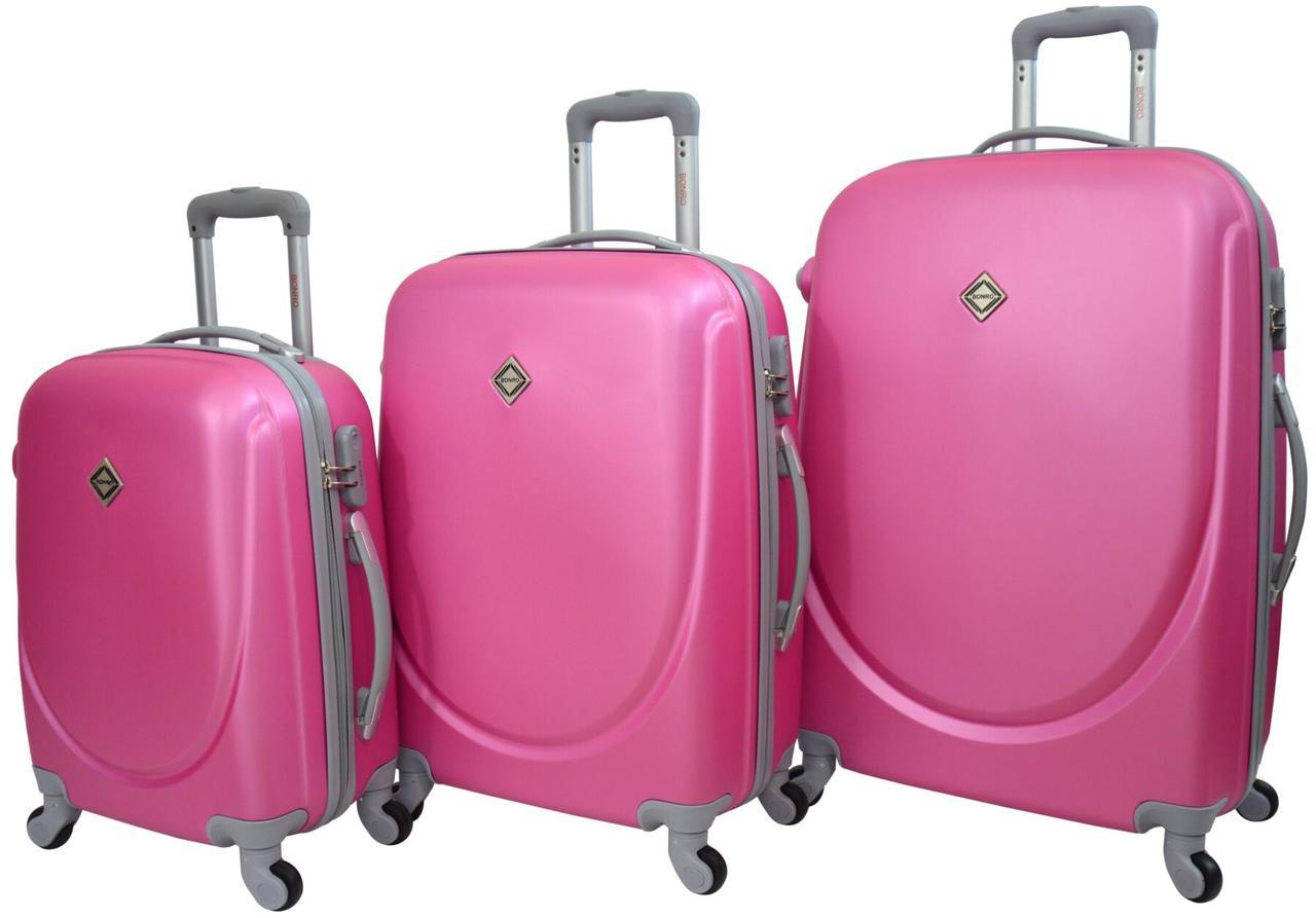 Набор чемоданов Bonro Smile 3 штуки розовый (10050316)