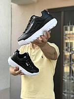 Чоловічі кросівки в стилі Fila Disruptor 2  чорно білі