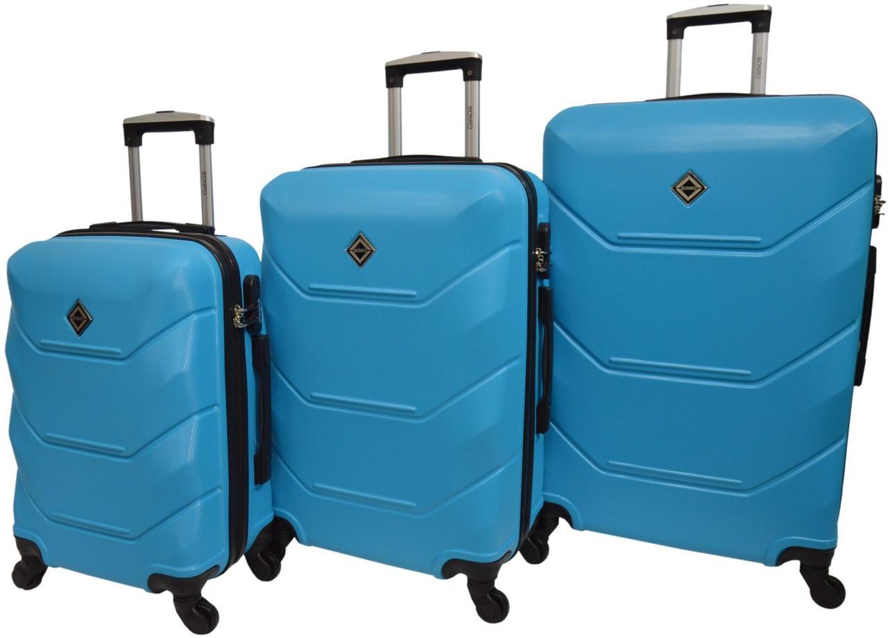 Набір валіз 3 штуки Bonro 2019 голубий (10500303)