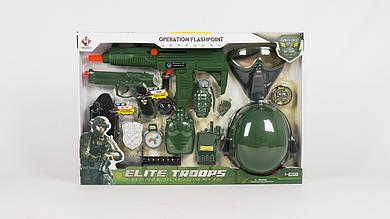 Набор военного M015A. Автомат трещотка и пистолет со звуком. Каска и маска.