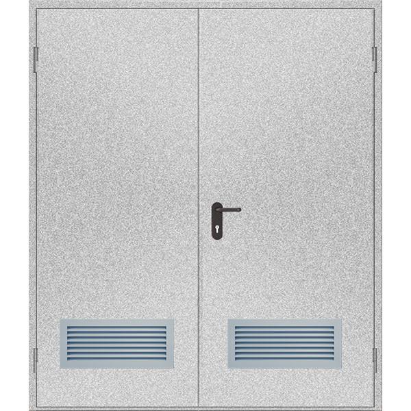 Двери противопожарные с вентиляционной решеткой ДМП ЕІ60-2-2100x1500, ЕвроСтандарт