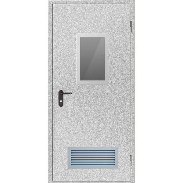 Двери противопожарные с вентиляционной решеткой и остеклением ДМП ЕІ60-1-2100х900, ЕвроСтандарт