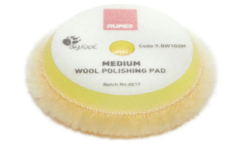 Полировальный круг из шерсти средний - Rupes BigFoot medium wool 80/90 мм. желтый (9.BW100M)