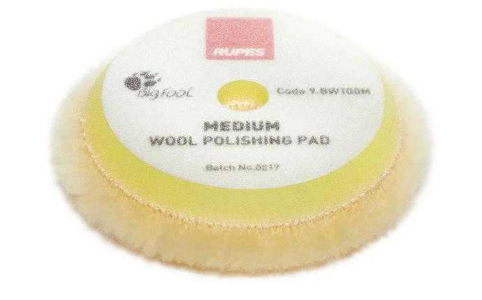 Полировальный круг из шерсти средний - Rupes BigFoot medium wool 80/90 мм. желтый (9.BW100M), фото 2